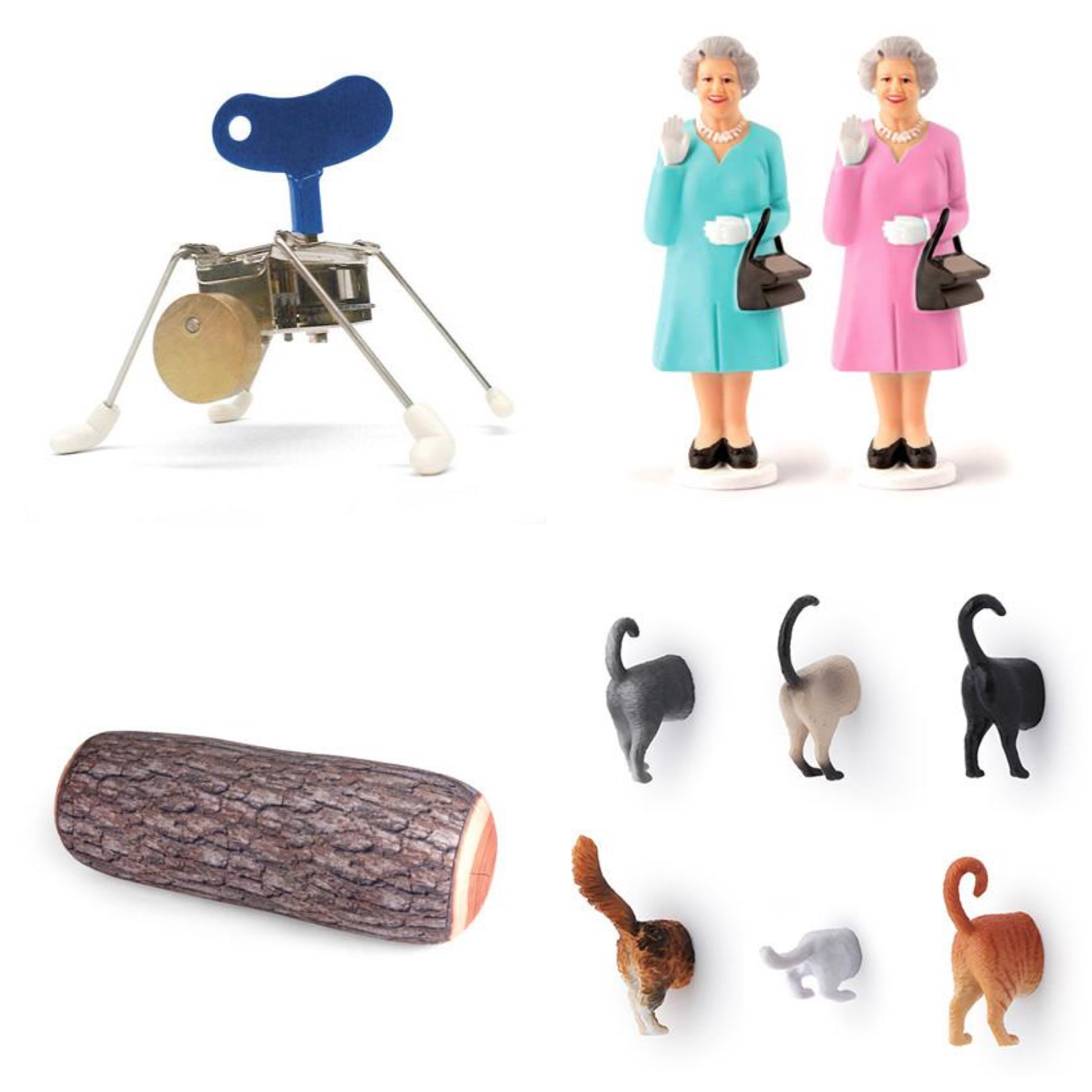 A selection of notable Kikkerland designs. Clockwise from top left: Wind-up toy, Solar Queen, Cat Butt Magnets, Log Pillow