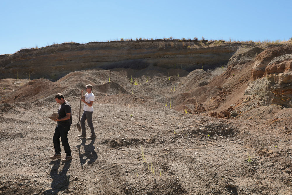 Digging for clay on the factory property