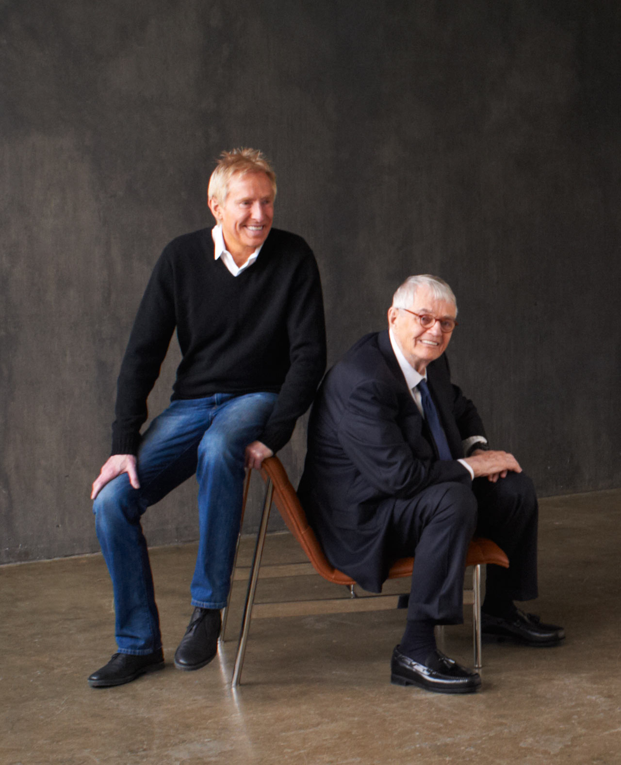 Jerry with the late Charles Pollock and his first new product in 40 years - the CP1 chair.