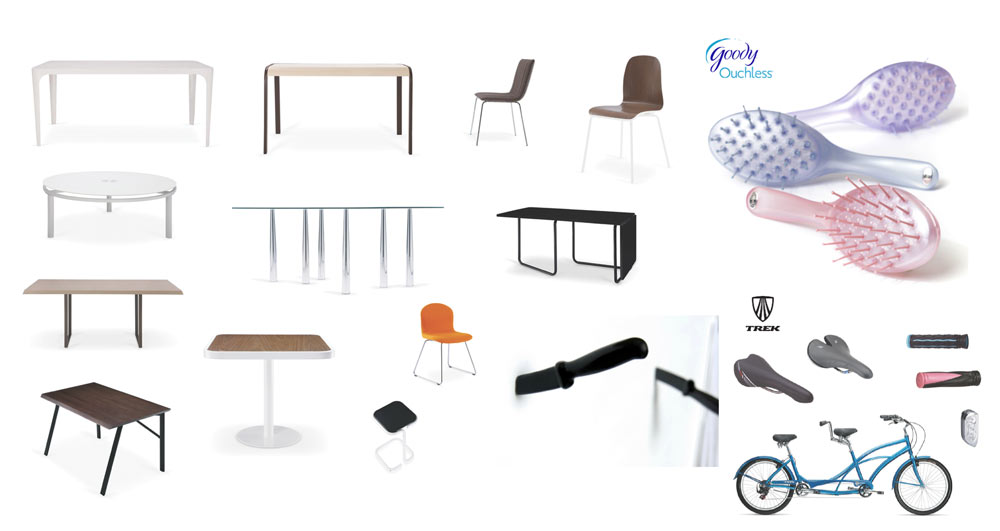 Examples of Ti's previous design work including Goody hairbrushes