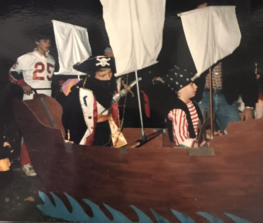 Cory and his brother Shane in their elaborate Pirate Ship Halloween costume