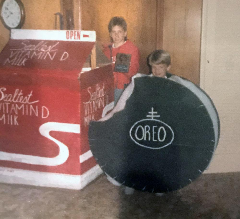 Milk + cookies Halloween costume in the 1980s