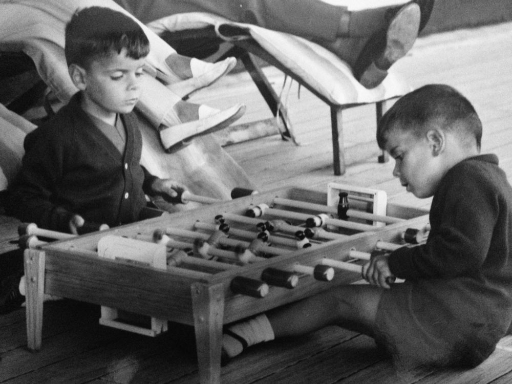 Pictured with his brother in a friendly game of foosball