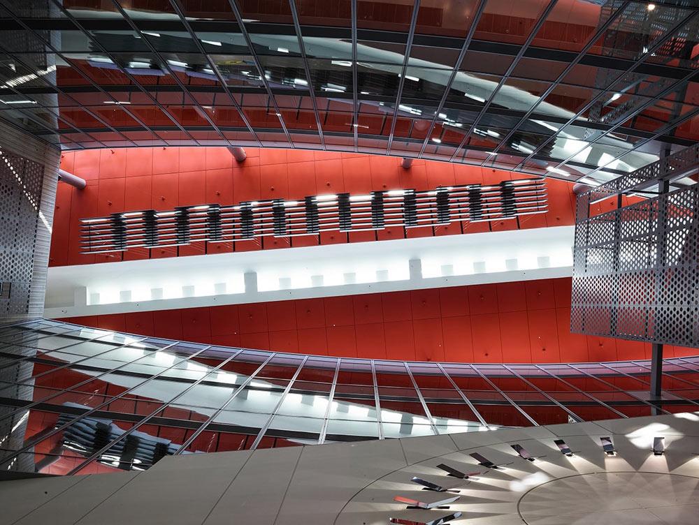 """United Therapeutics """"Energy Dial"""" in building atrium"""