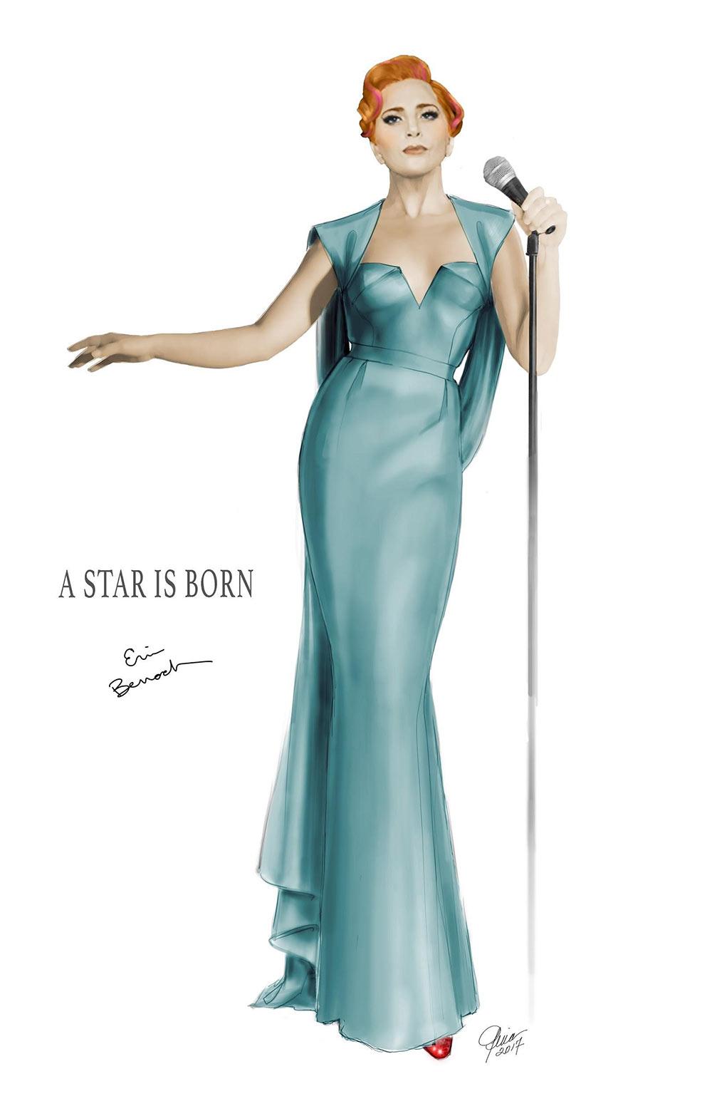 Final performance illustration for Lady Gaga in A Star is Born / Designer: Erin Benach
