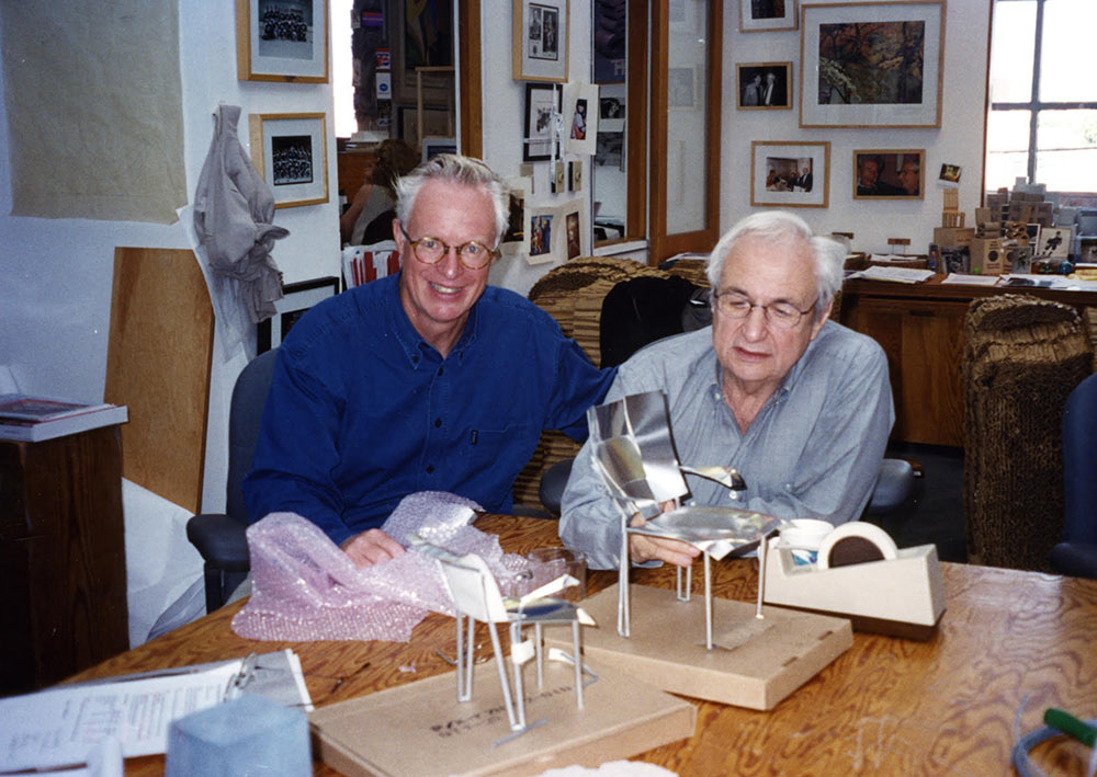 With Frank Gehry for the 1989 commission of the FOG chair