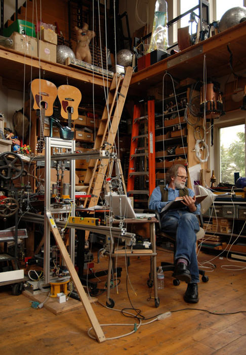 Trimpin in his Seattle Studio.  © Peter Esmonde