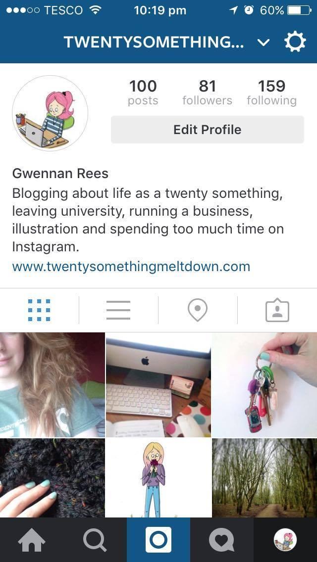 Screenshot of my 100 posts on Instagram