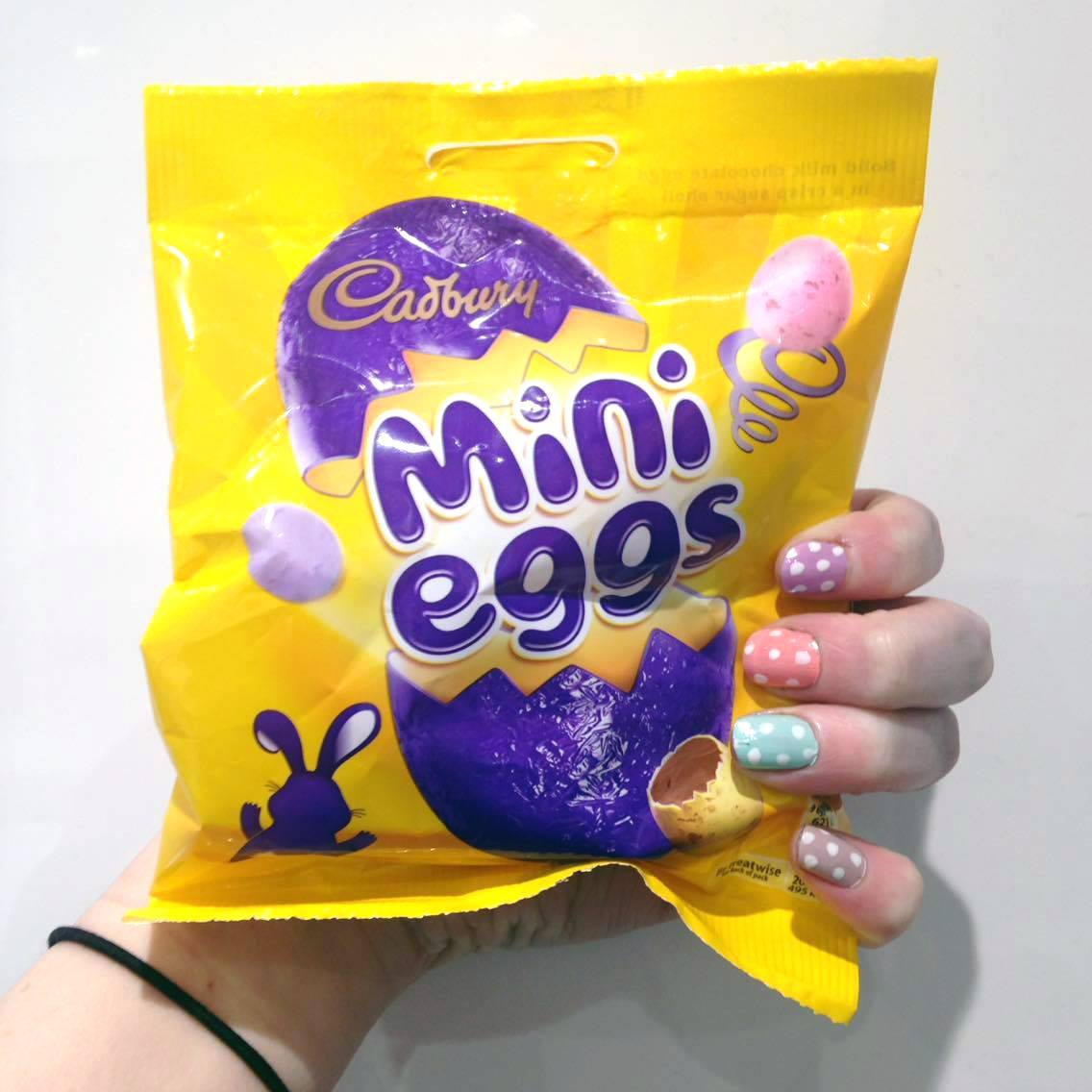 Standard Easter photo of mini eggs and Easter inspired nails.