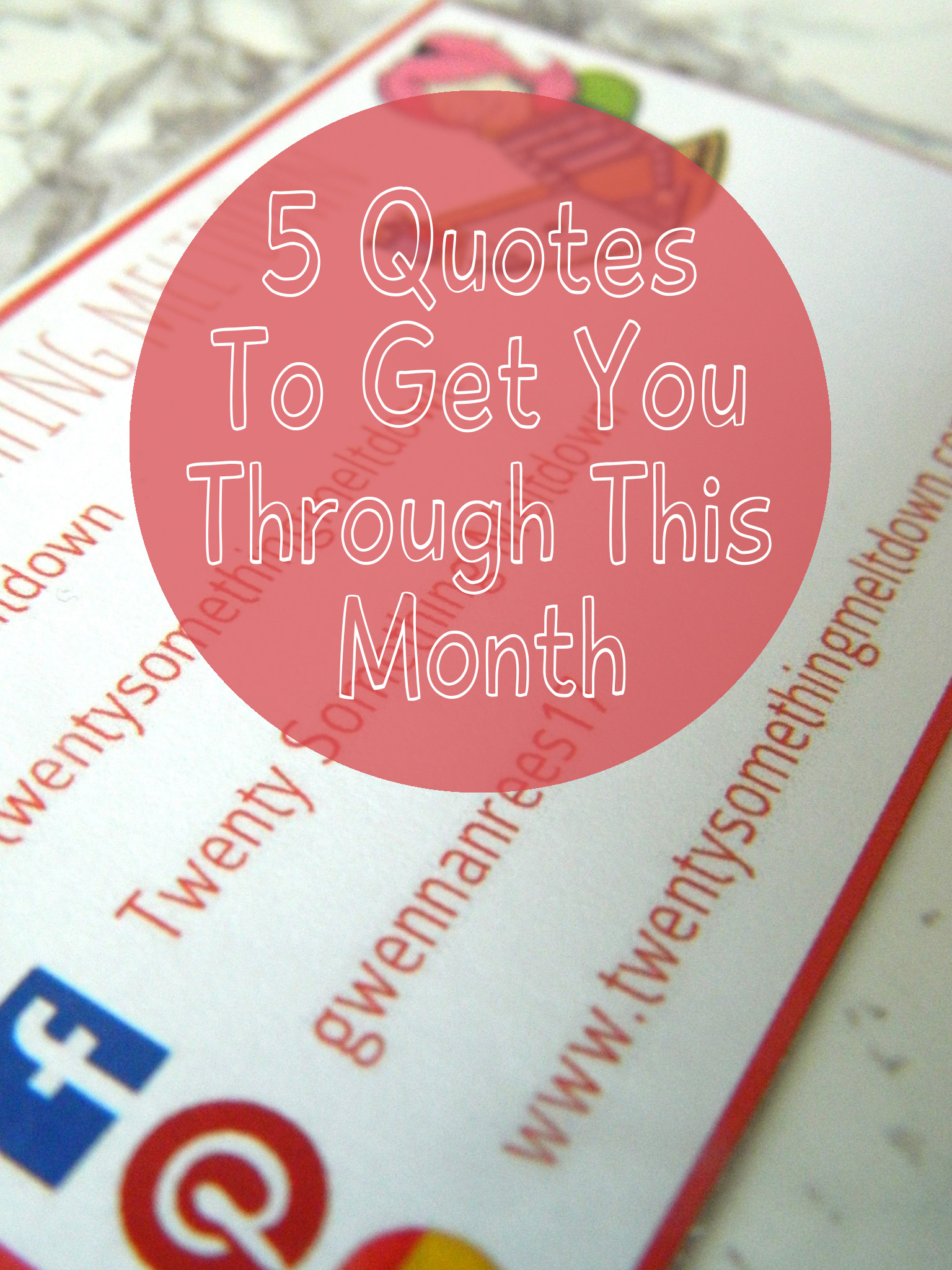 5 Quotes To Live By This April promo photo of business card.