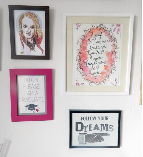 Picture wall segment- designs by Jonny Garrett Illustration, T Clarke Design and Stacey Jacqueline.