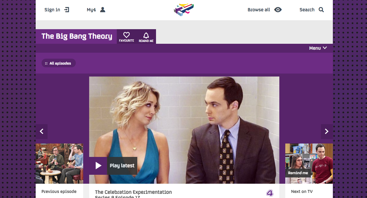 The Big Bang Theory on E4 screen grab.