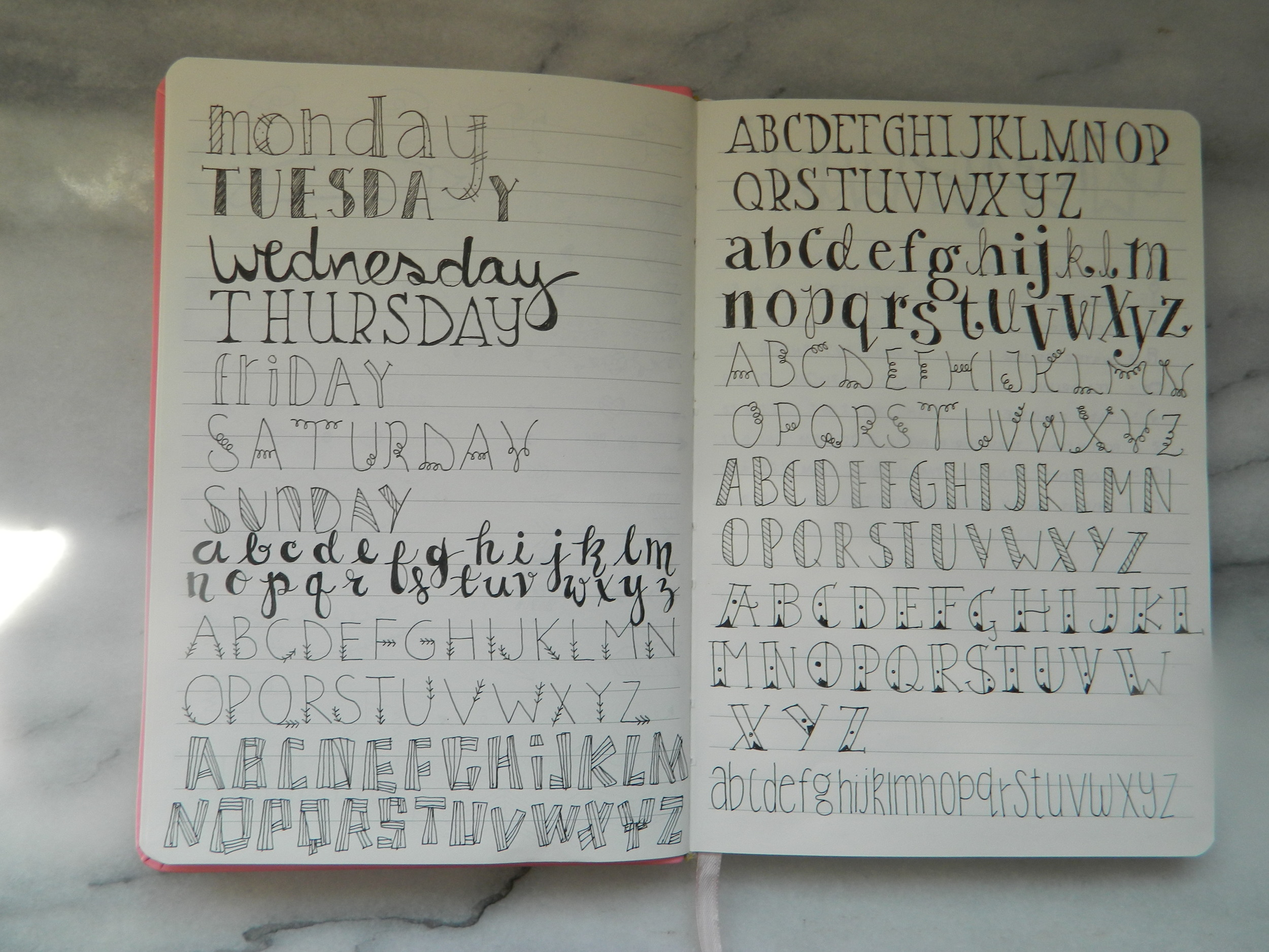 Handwritten fonts.