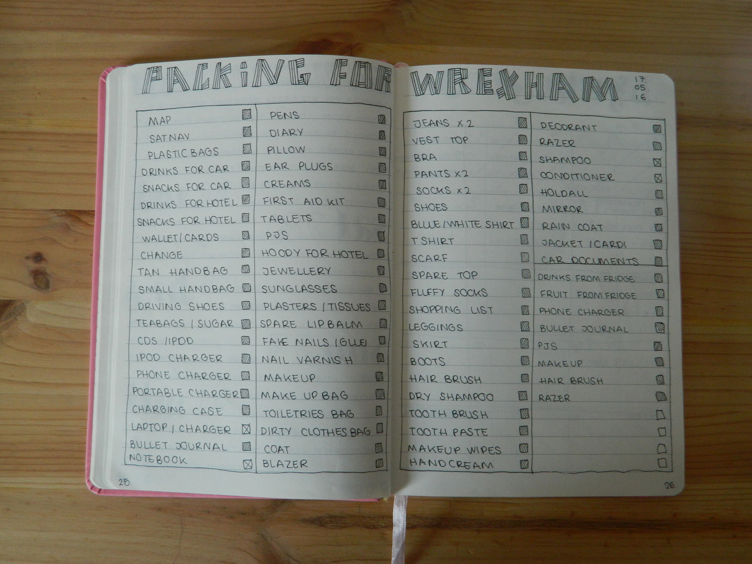 Packing list for Wrexham road trip.