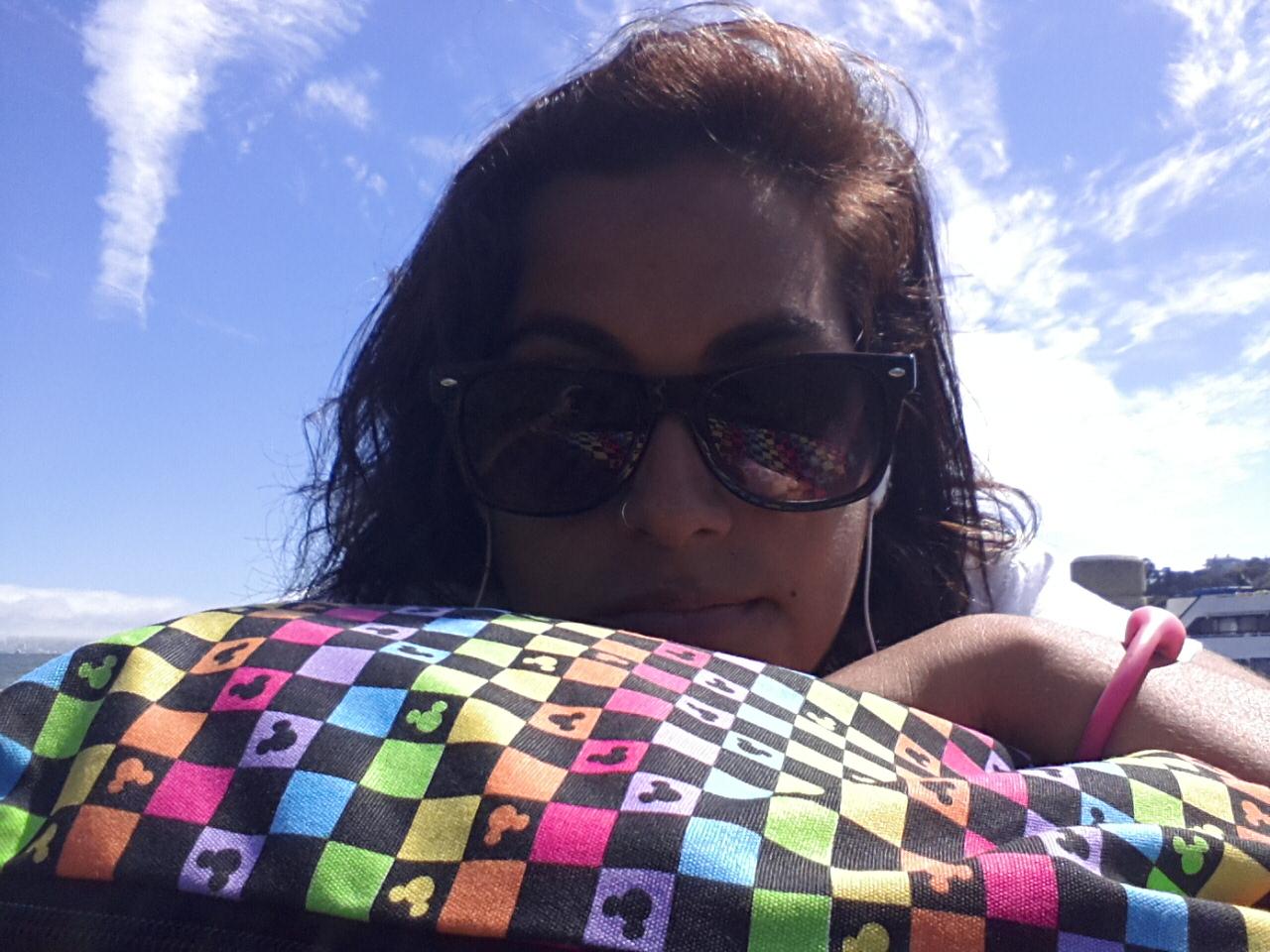 All by myself; enjoying the sun in San Fran.