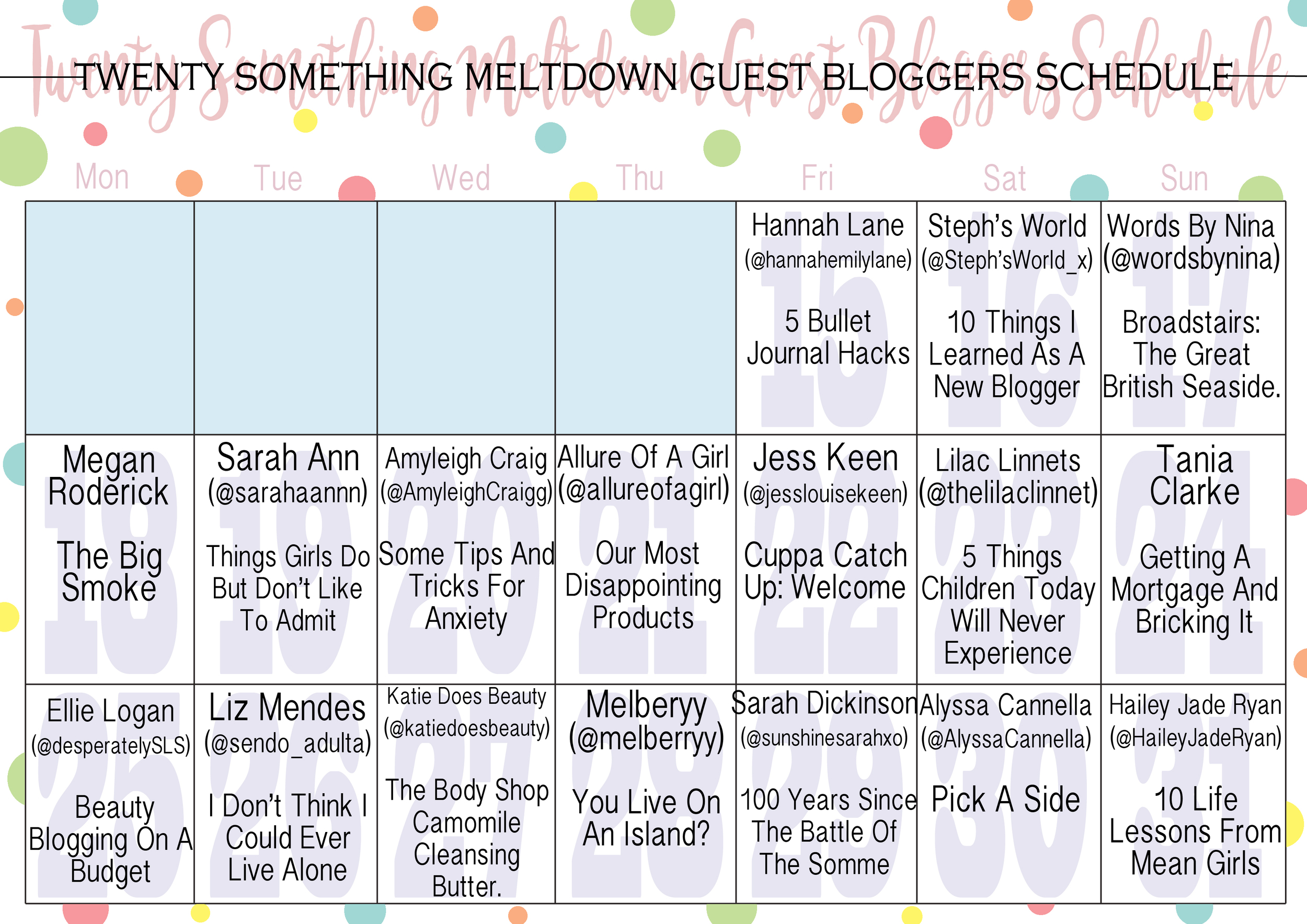 My guest blog schedule!
