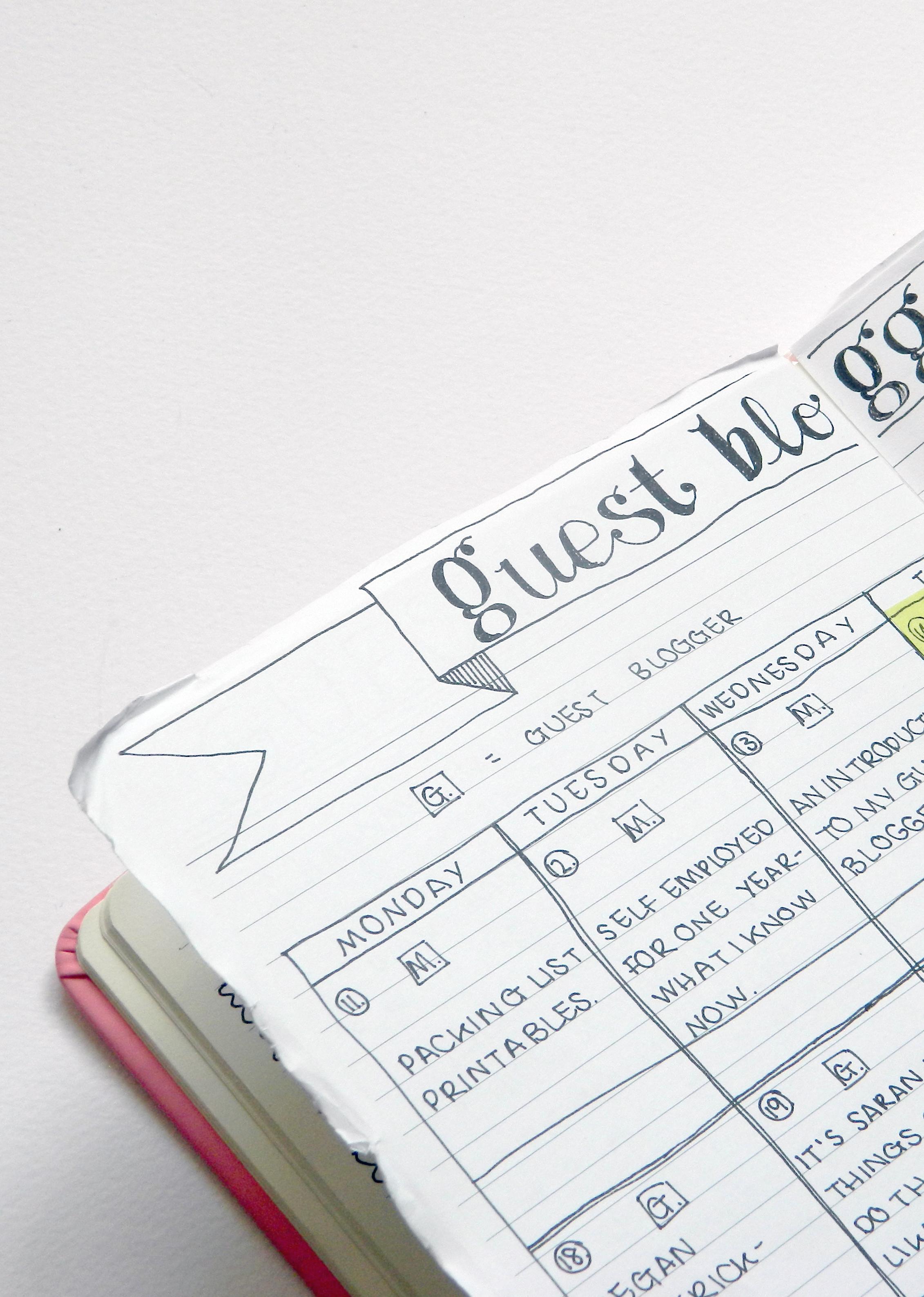 My Guest Blog Schedule in my Bullet Journal.