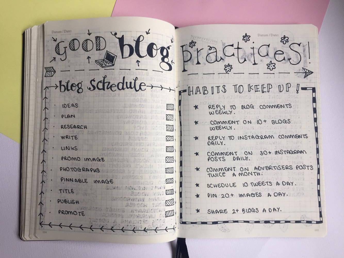 Good Blogging Practice Bullet Journal Layout.