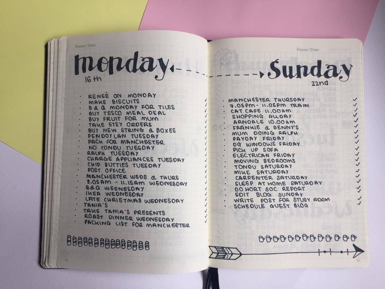 January weekly layout.