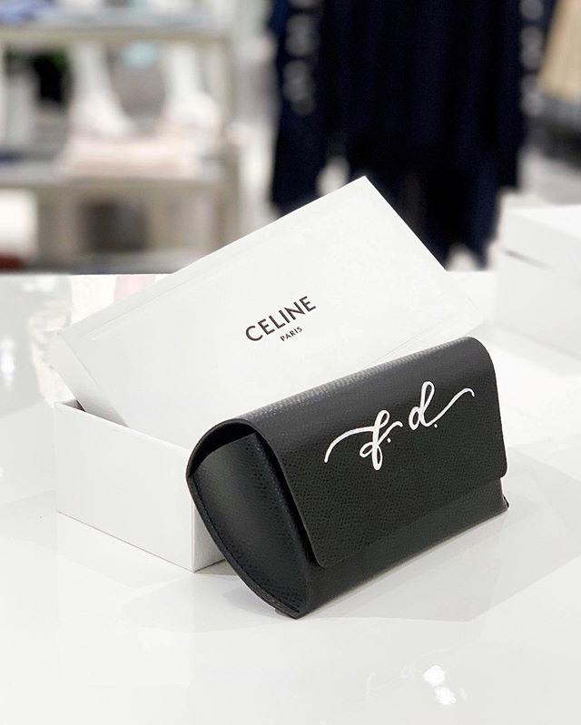 Excited to share I'll be back with @celine at @neimansnyc at Hudson Yards this weekend! 🕶 Custom hand painted calligraphy on cases for your new sunglasses Friday 5-7 and Saturday 3-6. Come say hi 👋🏼