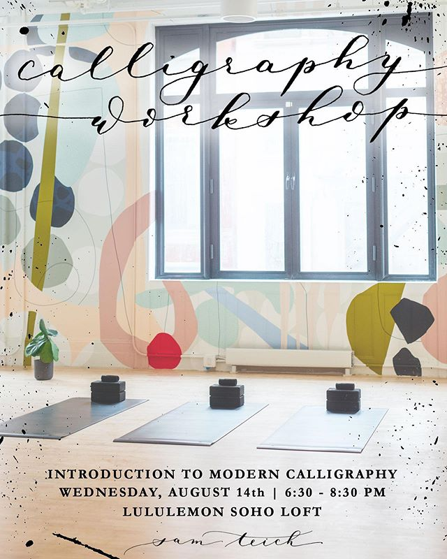 EXCITING NEWS ✨✨ (all caps means important right?) NYC workshops are back! I always say how relaxing and meditative calligraphy is, and how physical it is, so especially excited to partner with the @lululemonnyc Soho Loft. Come join for the first one: Wednesday, August 14th. All materials included and yours to keep ✍🏼, plus drinks courtesy of lululemon 🍷. And I'm not artsy is not a valid excuse. Ticket link in bio will be LIVE AT 7PM tonight (8/1!) so set an alarm 🚨!!