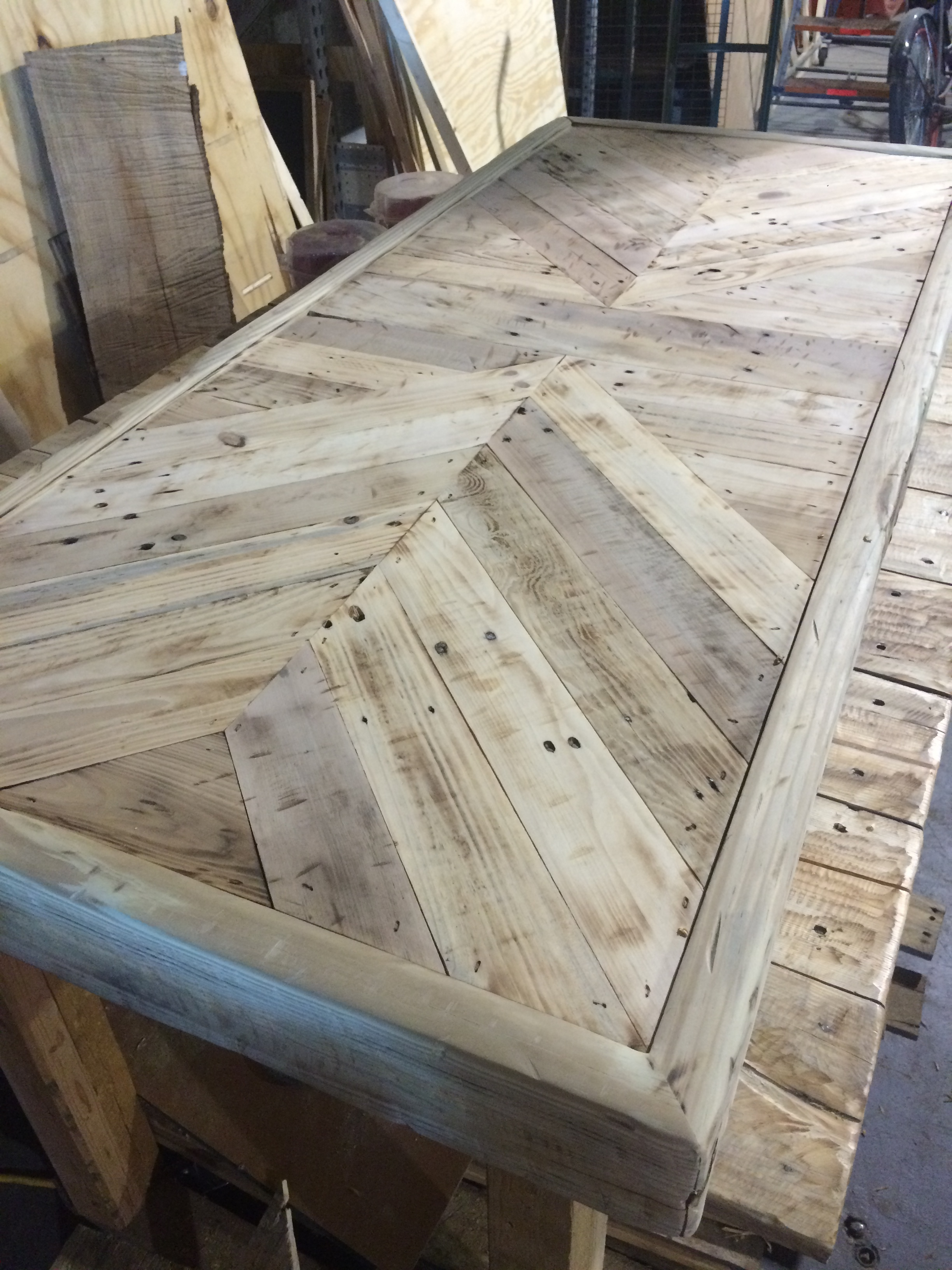Re-purposed pallet farm table