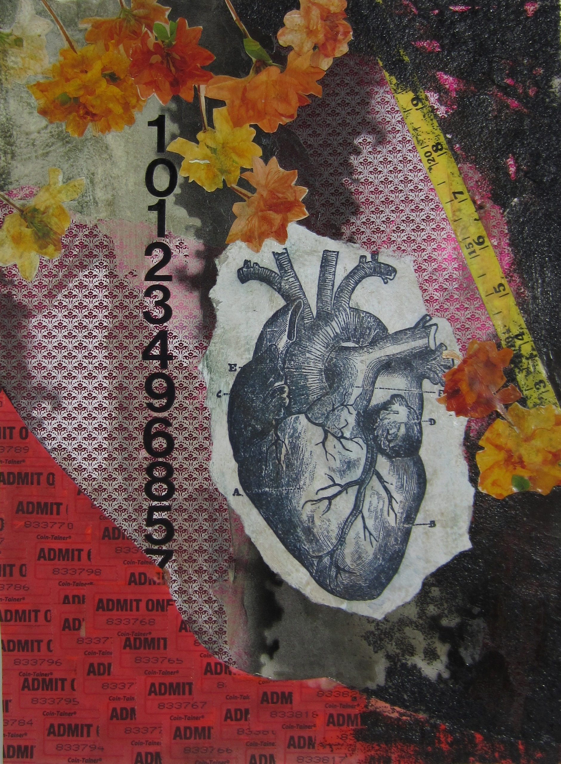 """from 2012 'Mathematics of Love"""" series   collage, found material, tar, mixed media"""