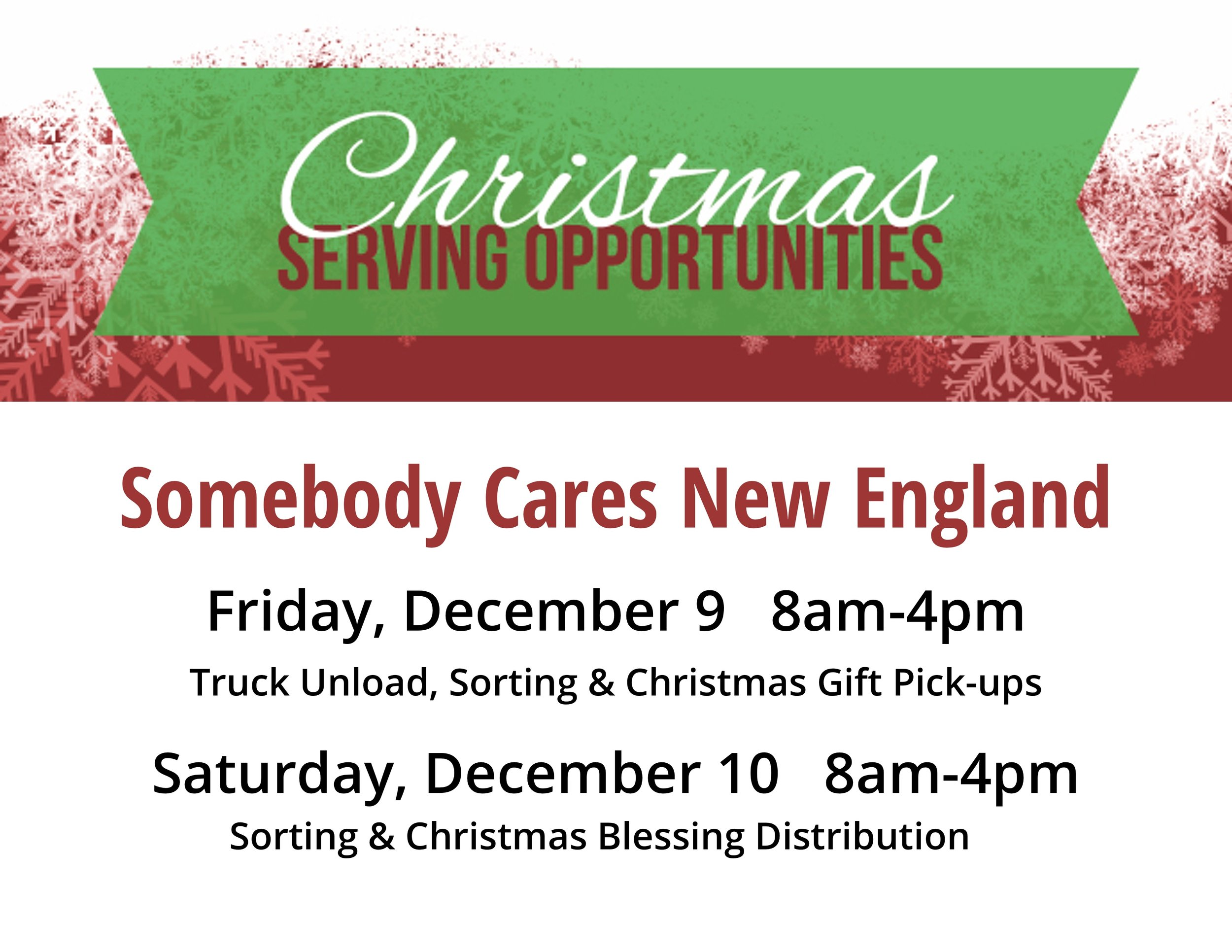 BRCC has teamed up with Somebody Cares New England to provide serving opportunities this Christmas! As SCNE  prepares to launch their HUGE Christmas outreach, they are asking for volunteers to help with all the work that needs to be done. You can sign up for Friday, 9 Dec, or  Saturday, 10 Dec from 8-4. If you can help, please fill out the form on your seat in the sanctuary and put it in the red buckets at the end of service. Any time you can give is greatly appreciated!