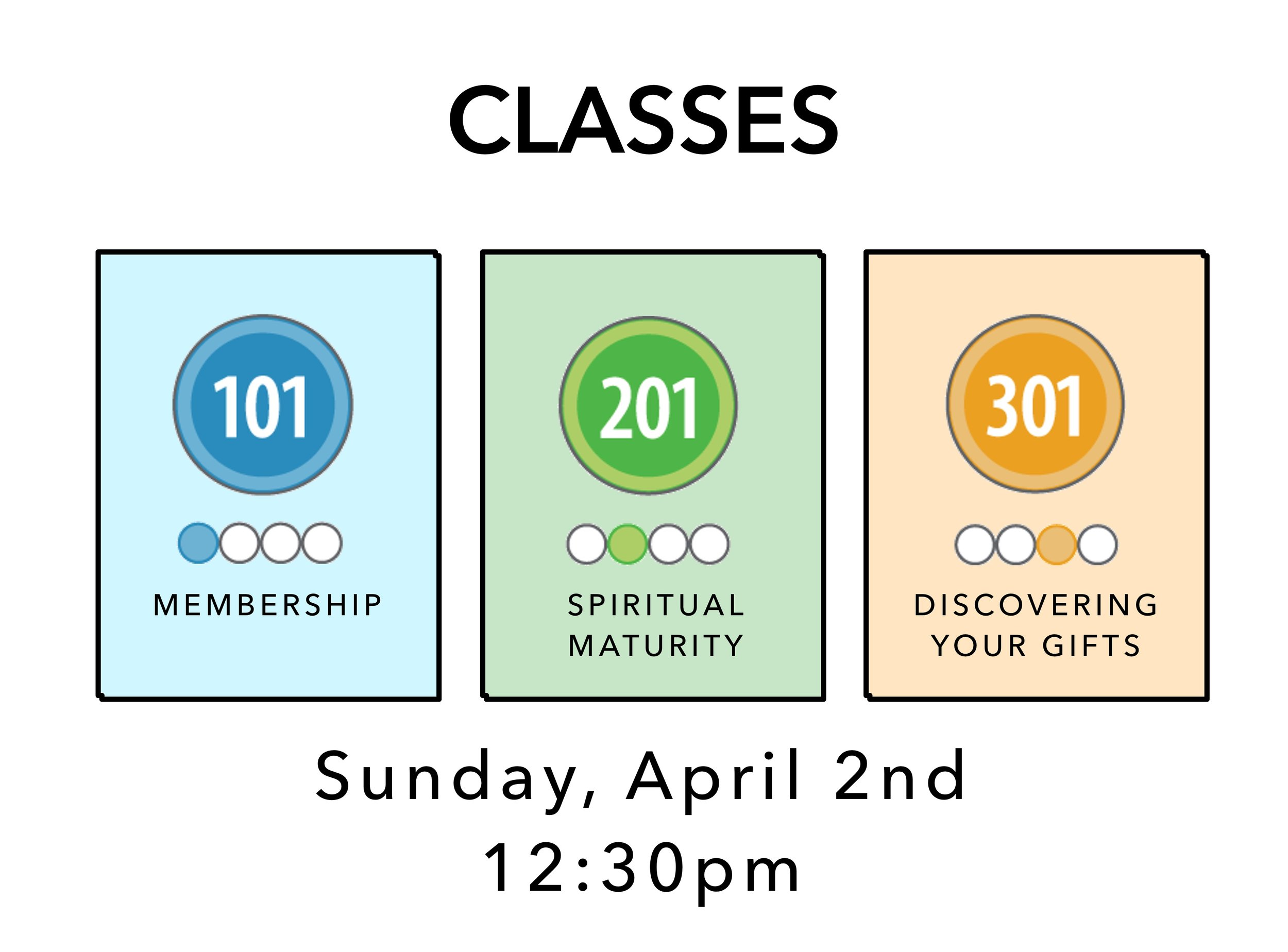 Want to know more about the church and maybe become a member (Class 101), or learn the tools to grow in your daily walk with Christ (CLASS 201), or discover your gifts (CLASS 301)?  Then sign up for a CLASS! Just send an email to Tina at  info@brookridge.org . CLASSes must be taken in order, so if this is your first time taking a CLASS, you'll start with CLASS 101.