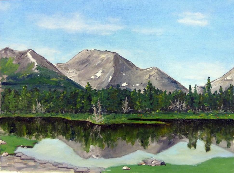 "Landscape, oil on canvas, 12"" x 18"""