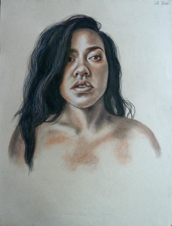 """Self-Portrait, Conte on paper, 24"""" x 18"""""""