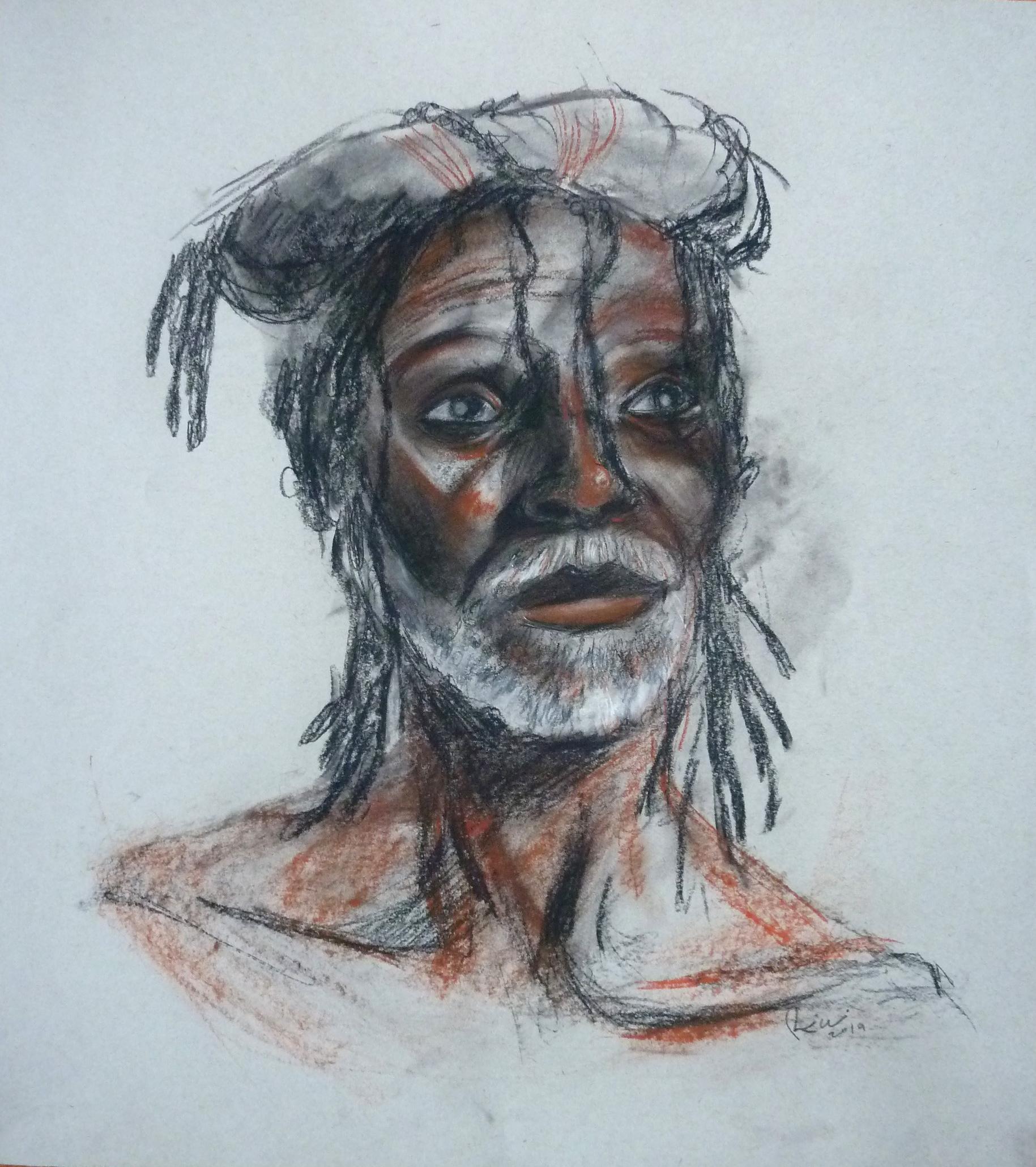 """Male portrait, Conte on paper, 24"""" x 18"""""""