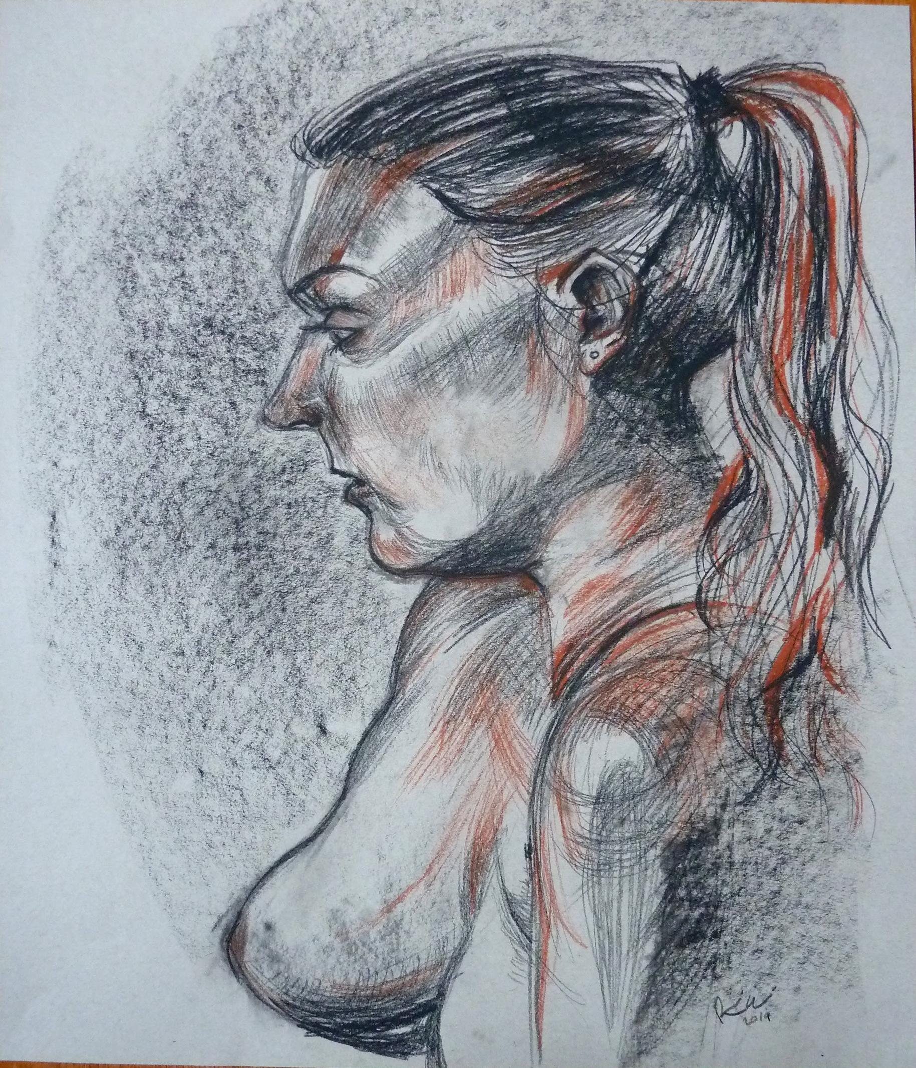 """Female Portrait, Conte on paper, 24"""" x 18"""""""