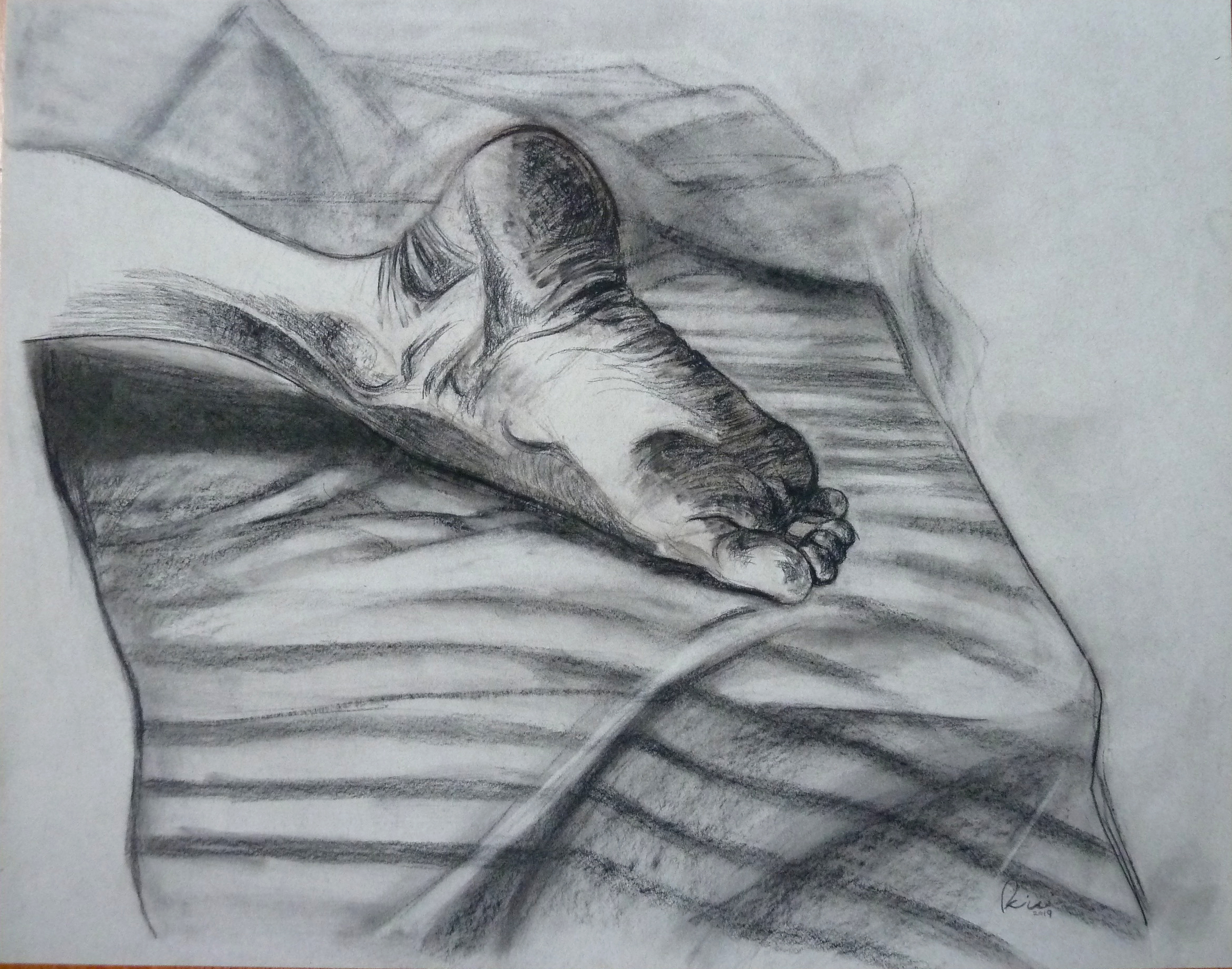 """Foot, Conte on paper, 18"""" x 24"""""""