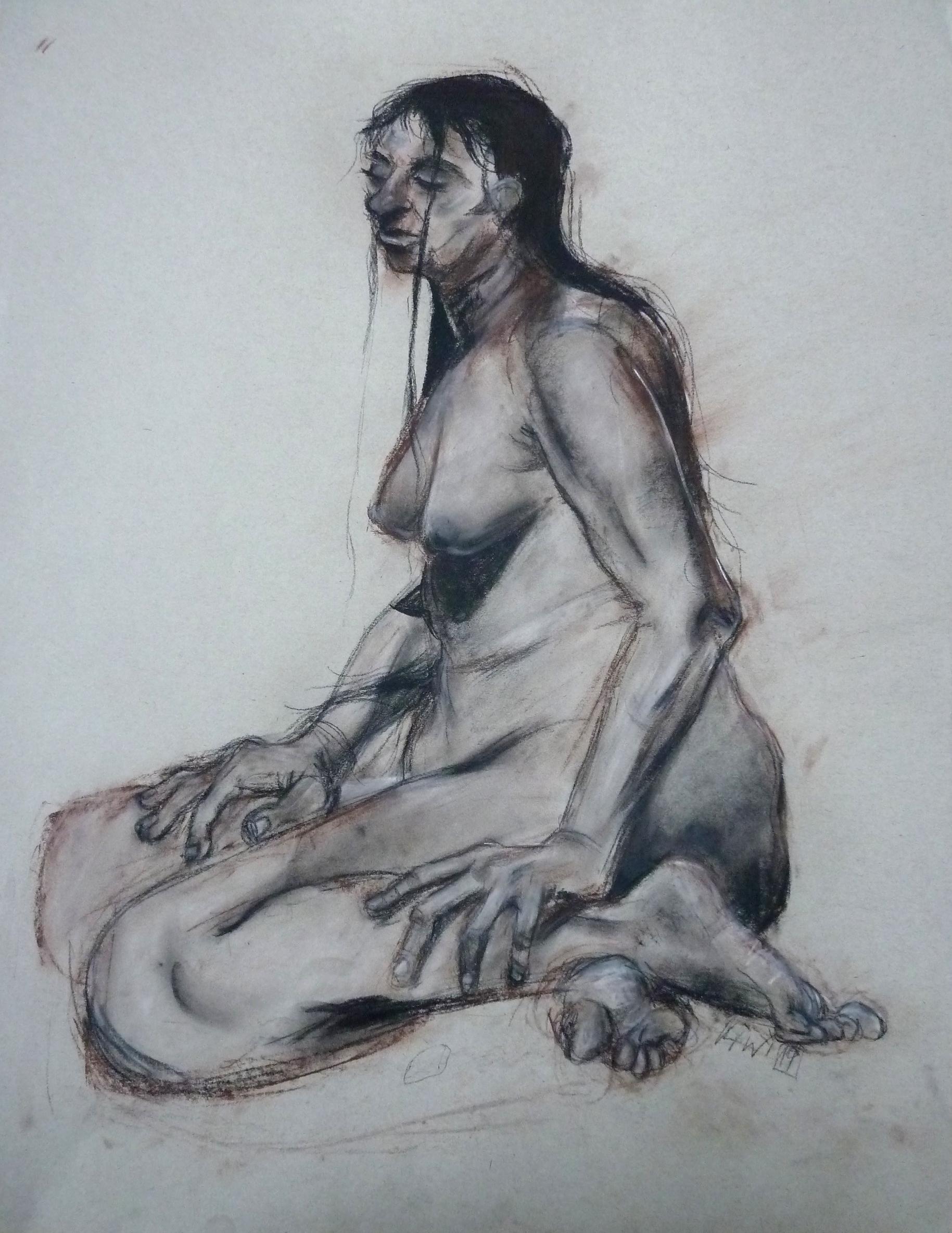 """Female body, conte on paper, 24"""" x 18"""""""