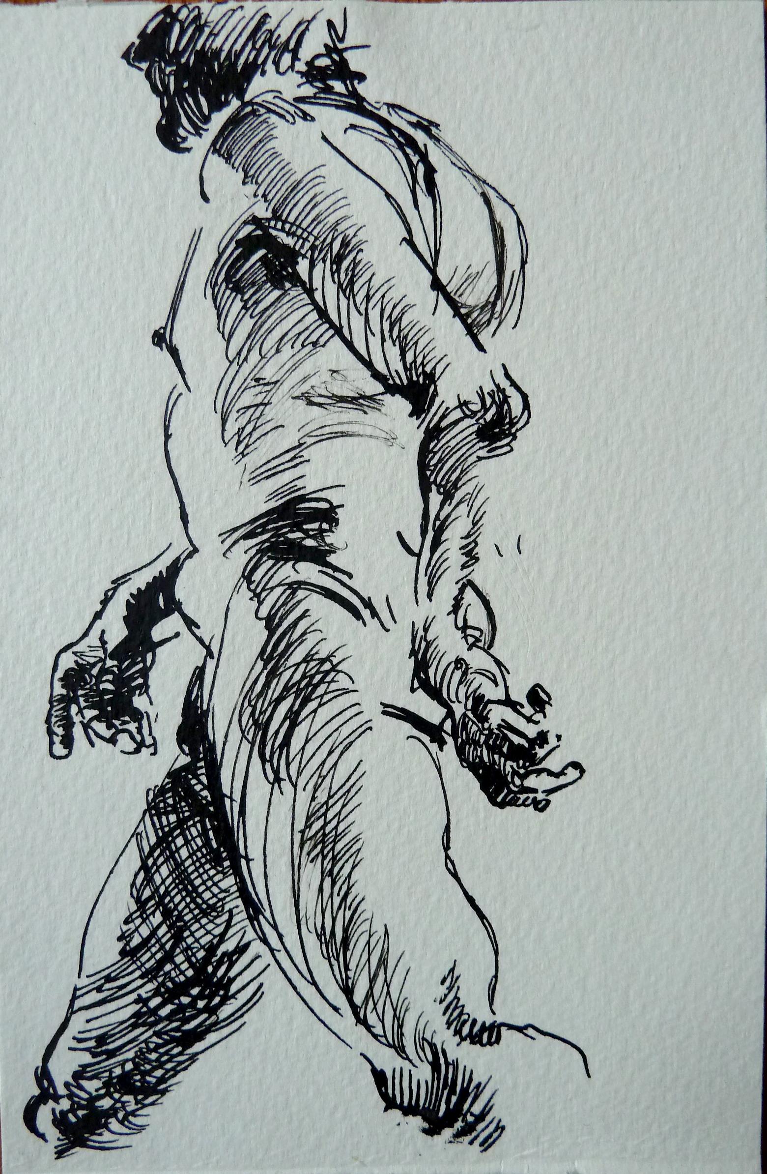 "Male model, Ink on watercolor paper, 7"" x 5"""