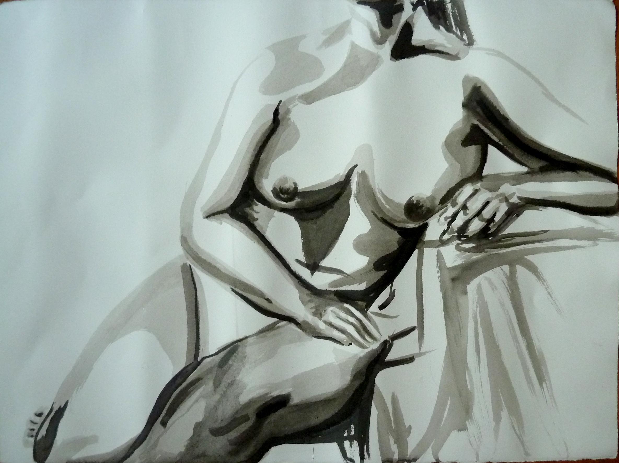 """Female model, Ink on Rives BFK paper, 22"""" x 30"""""""