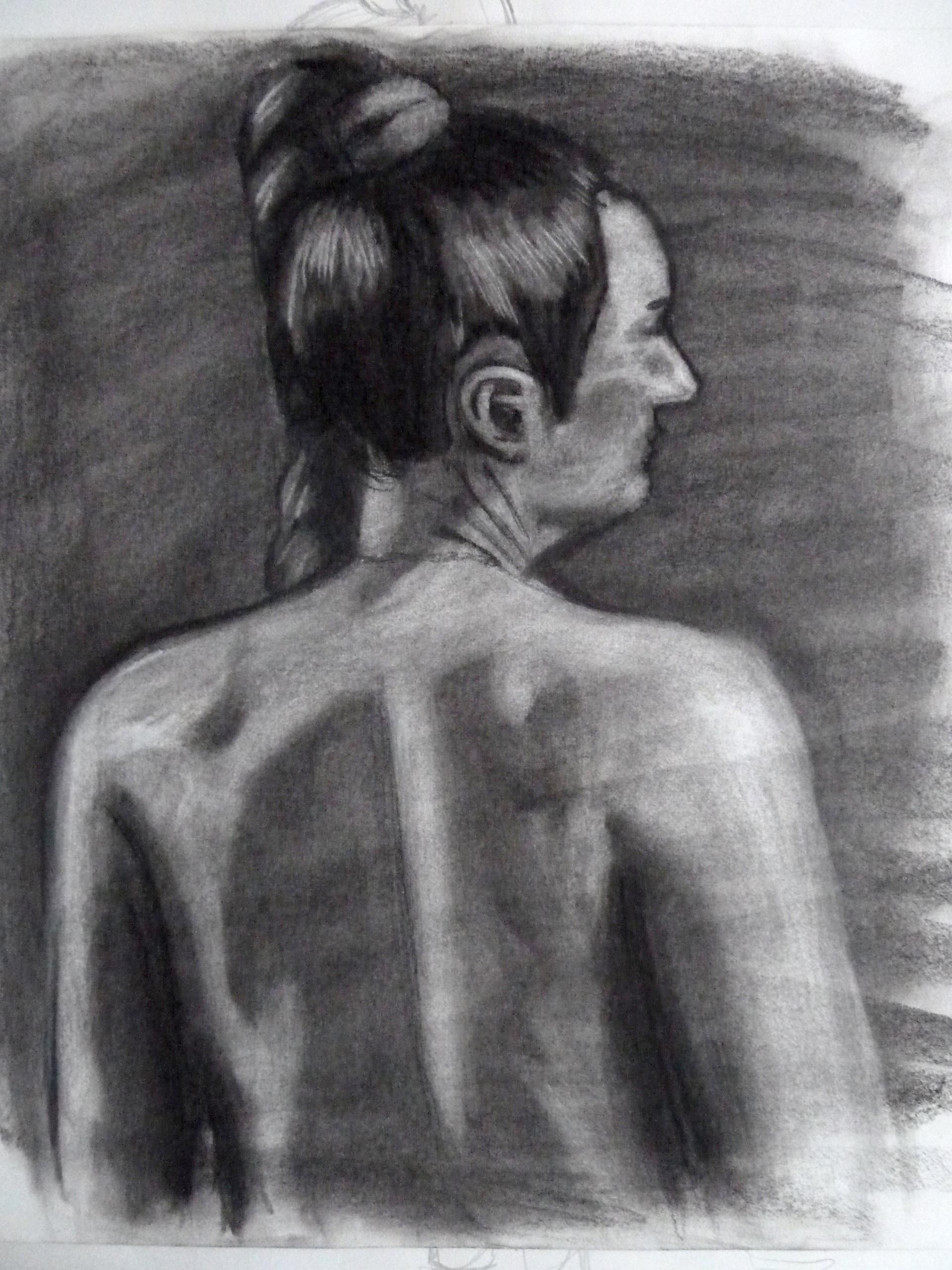 "Female model, Charcoal on paper, 24"" x 18"""