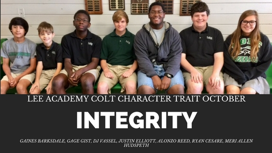 Congratulations to our October Colt Character Trait recipients!