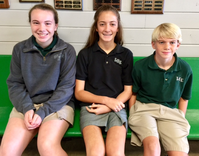 Congratulations to our Middle School Positive Attitude recipients for October:    8th Grade - Merri Evelyn Evans, 7th Grade - Sara Lutts, 6th Grade - Bryan Ray