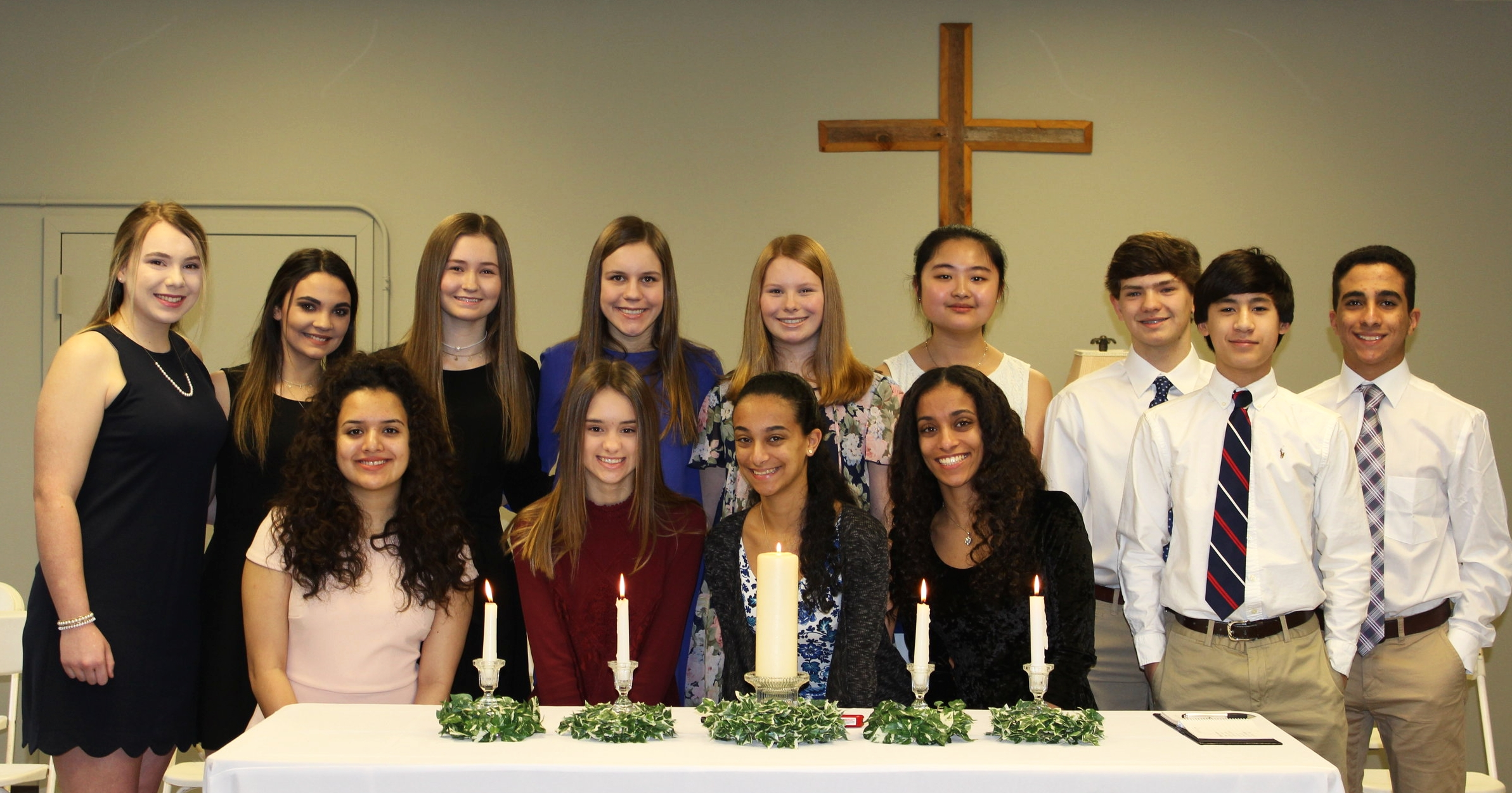 Members of the National Junior Honor Society are pictured above. Merri Evelyn Evans, President; Tate Allen, Vice President; Anne Hollis Dulaney, Officer of Leadership; Sarah Basha, Officer of Scholarship; Elizabeth Basha, Officer of Character; Jackson Spinks, Officer of Service, Gaines Barksdale, Michael Basha, Sandra Chow, Gladys Daniel, Brielle Johnson, Debbie Molina, and Emily Moser