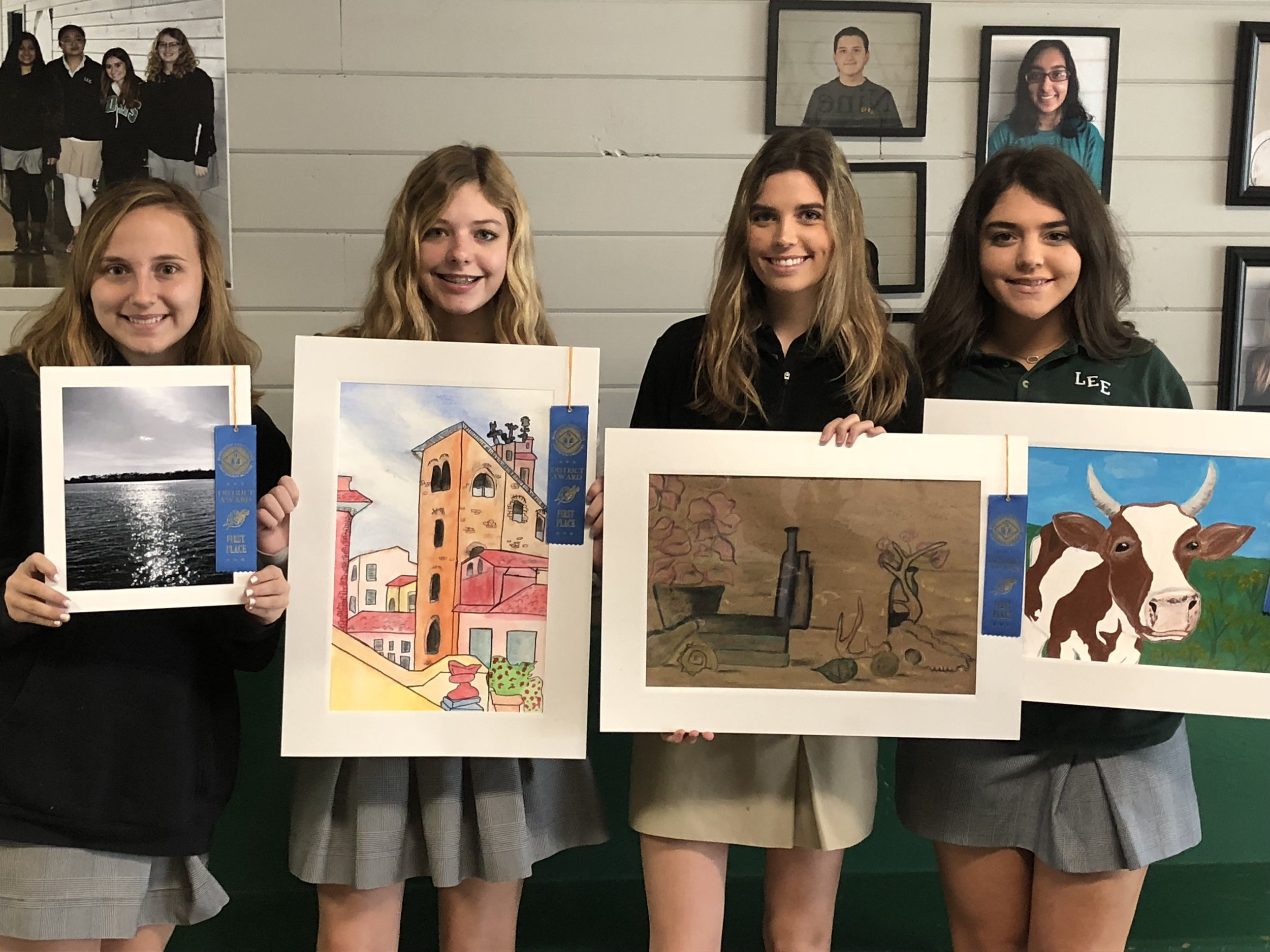 L to R: Callie Millwood, 11th grade - 1st Place Photography; Allie Middleton, 10th grade - 1st Place Mixed Media; Emily Garrard, 11th grade - 1st Place Single Drawing;  & Ashton West, 10th grade - 1st Place Painting