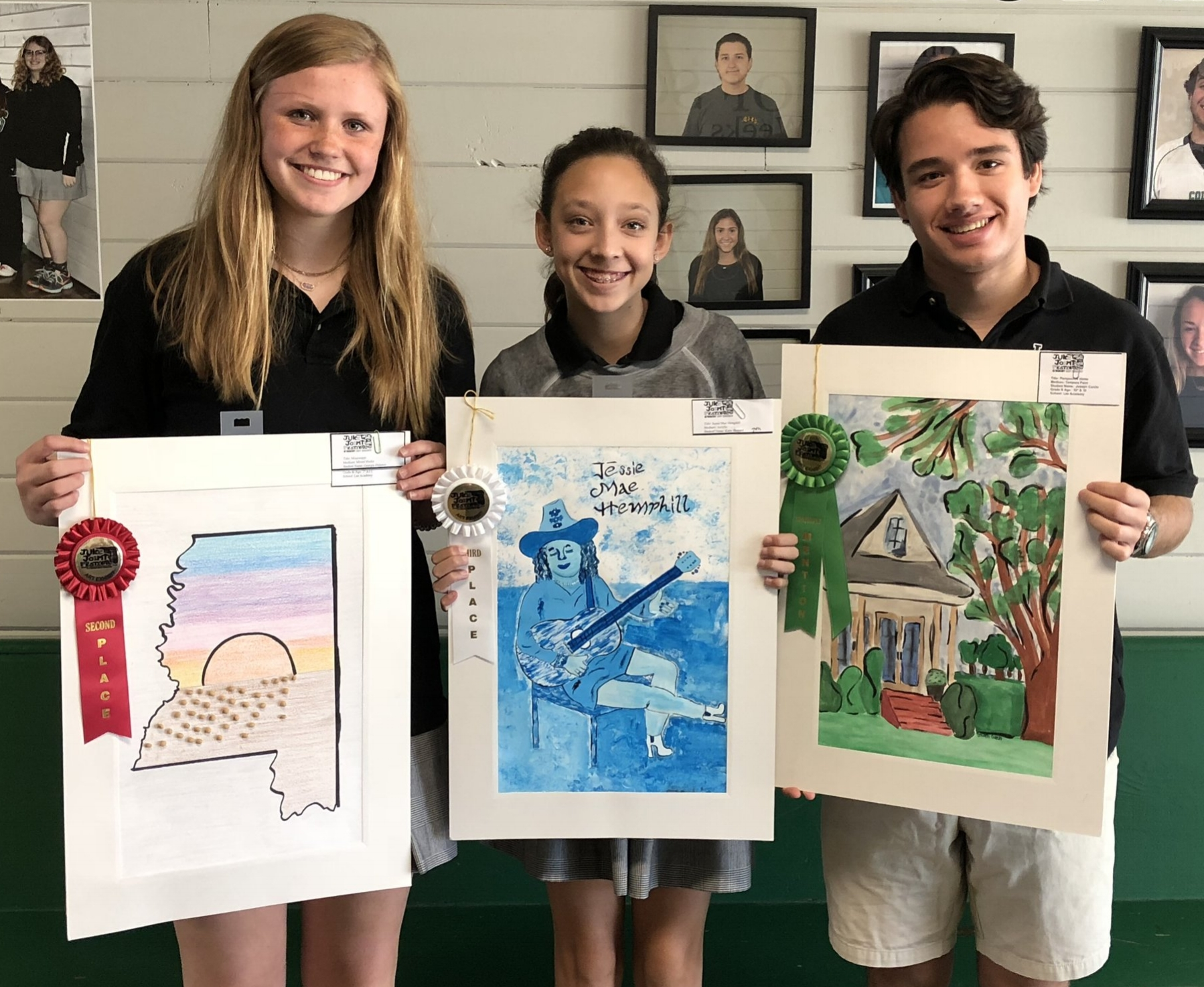 Left to Right: 7th Grade - 2nd Place, Georgia Dulaney; 7th Grade - 3rd Place, Katie Sherard; and 10th Grade - Honorable Mention, Joseph Curcio