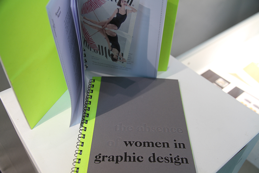 'The Absence of Women in Graphic Design' (2014), Kat Garner, displayed in the A+ exhibition at CSM in 2016