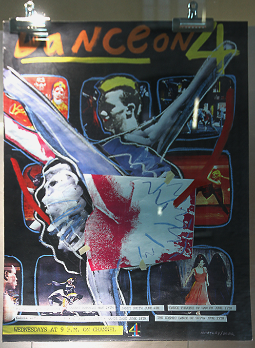 Huntley Muir 'Dance on 4' poster, 1986, on display at the A+ exhibition at Central Saint Martins in 2016