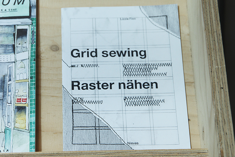 'Grid sewing/raster Nahen' by Lizzie Finn (2004) on display in the A+ exhibition at Central Saint Martins