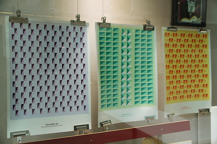 Facade 03, Facade 02, Facade 01, screenprints by Elemental Editions 2012, on display in the A+ exhibition at Central Saint Martins, 2016