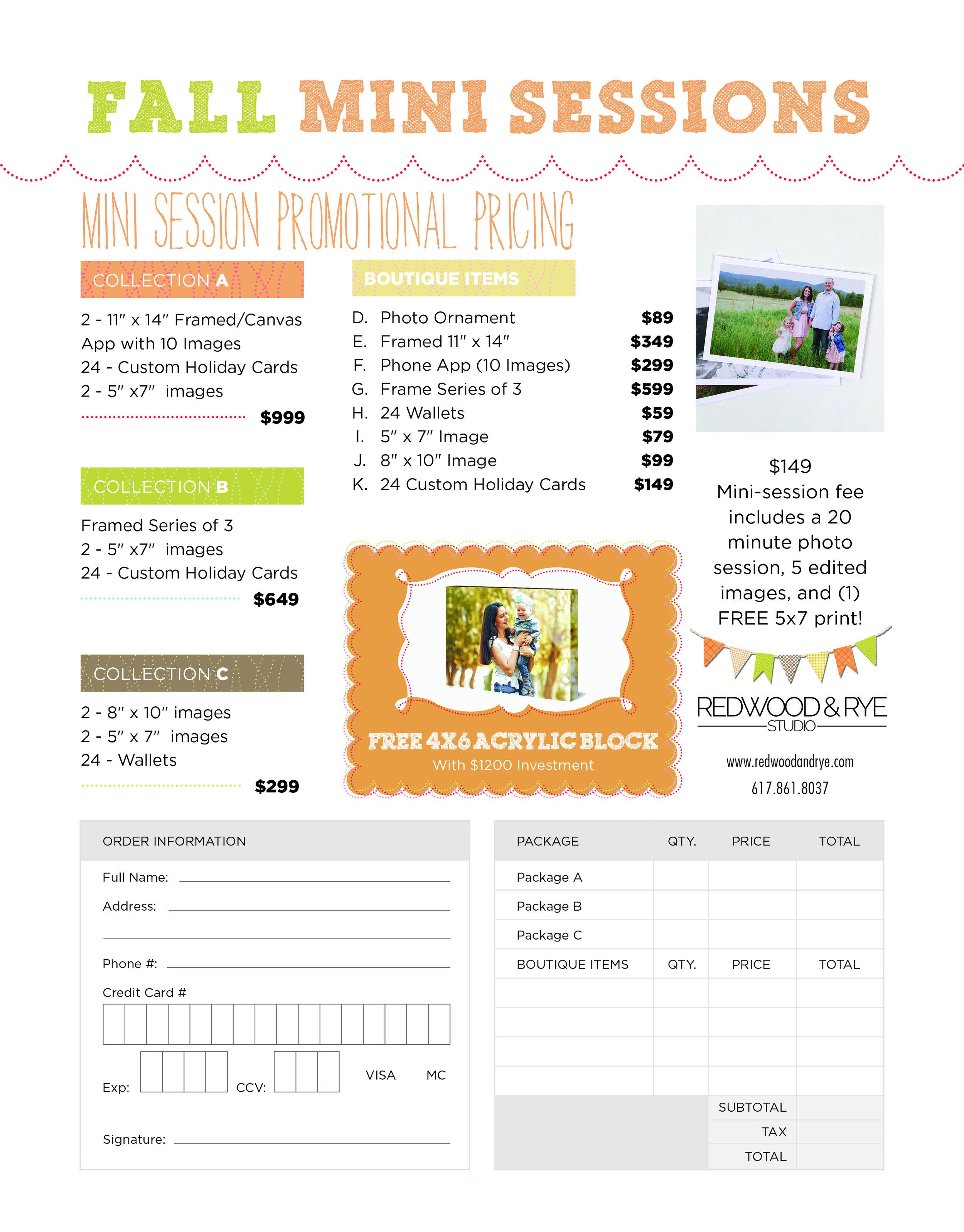 2018 Redwood & Rye Studio Fall Mini Session Product Order Form
