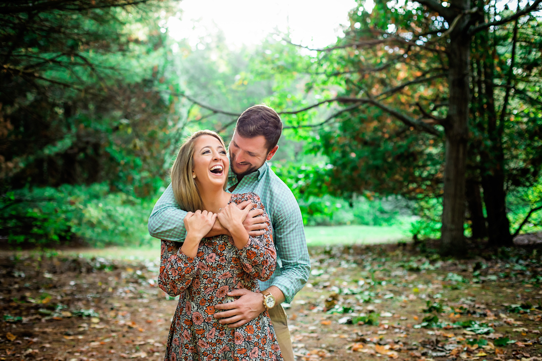 wooded engagement photography