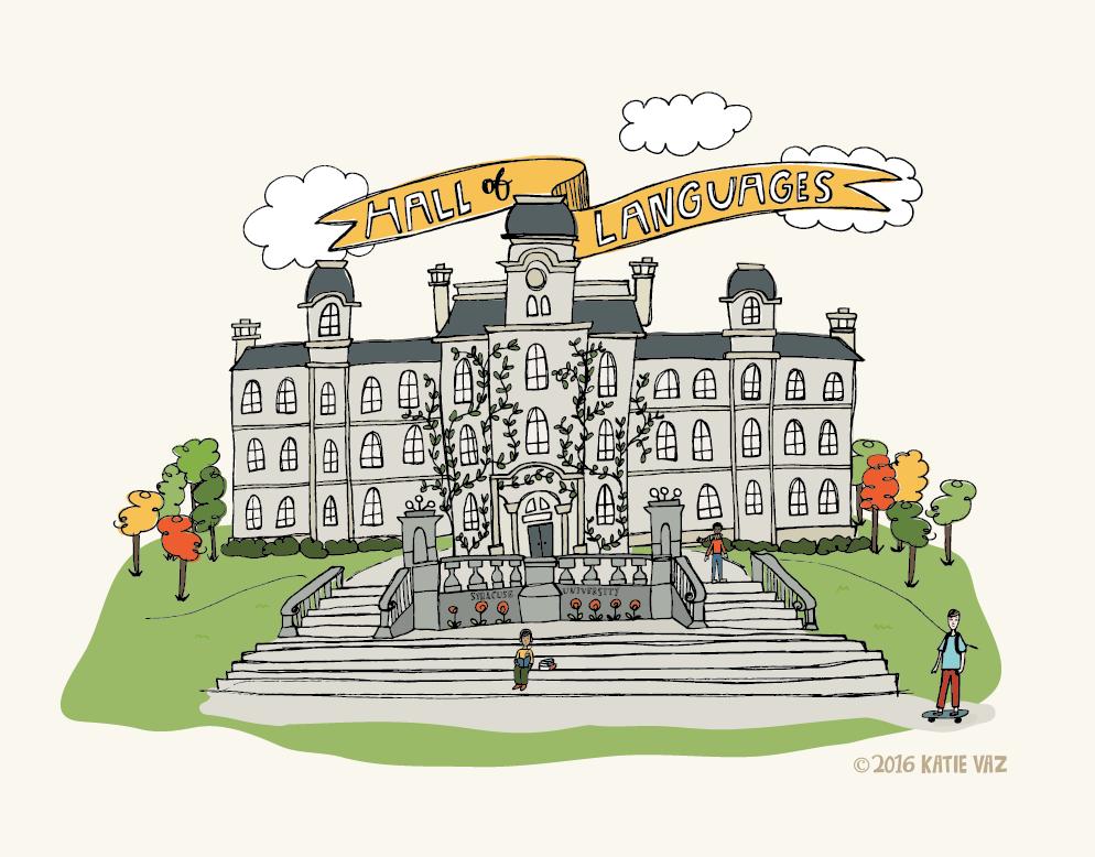 Syracuse Hall of Languages Illustration